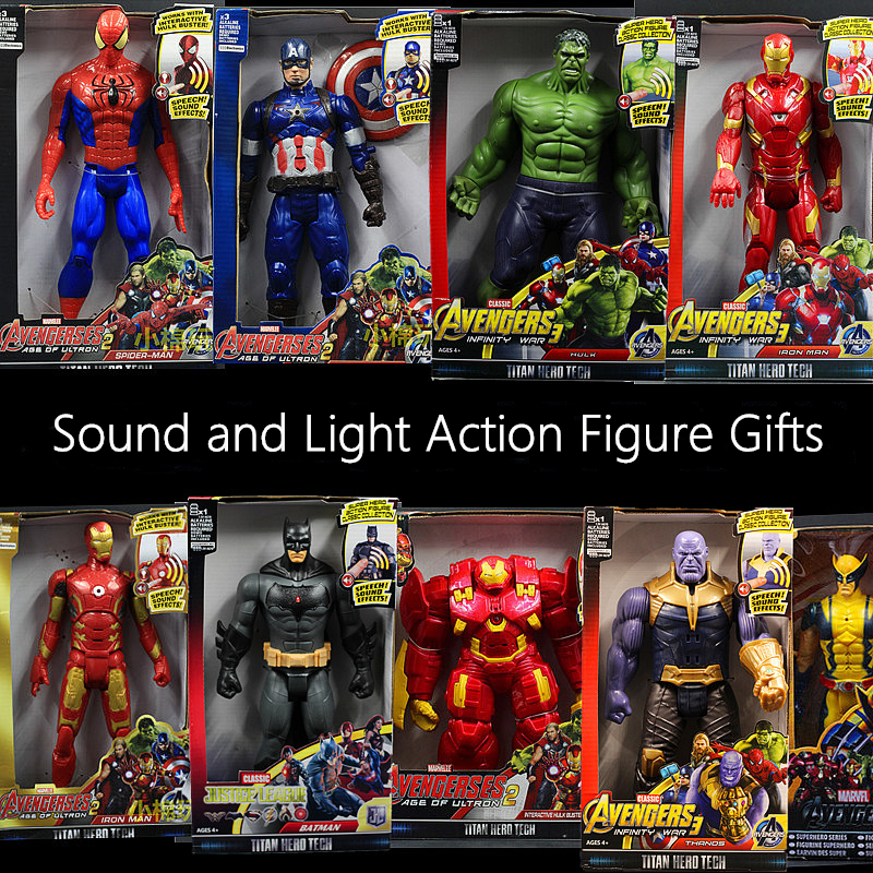 30CM Sound and Light Action Figure Gifts Avengers Iron Man Hulk Captain America Thor Thanos Batman