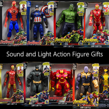 30CM Sound and Light Action Figure Gifts Avengers Iron Man Hulk Captain America Thor Thanos Batman Spider-Man Doll boys gift avengers infinity war iron man captain america thor batman black panther with led light and sound pvc action figures toy box w86