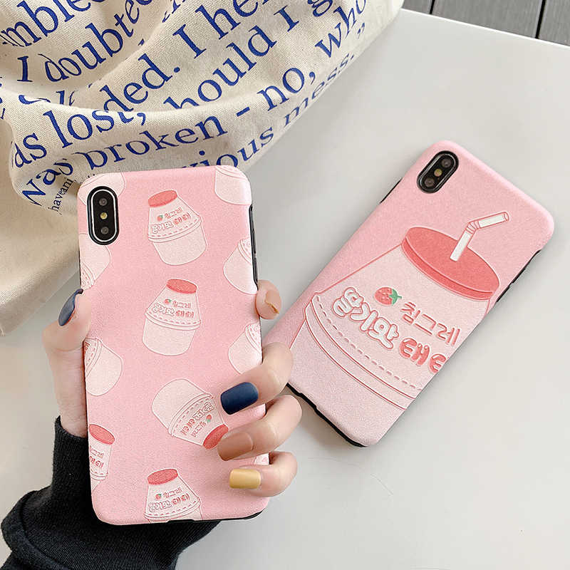 Silk texture Phone Cases for Huawei P20 Mate20 Pro Lite Strawberry milk matte case For Huawei Nova 3 4 3e Honor 10 back funda