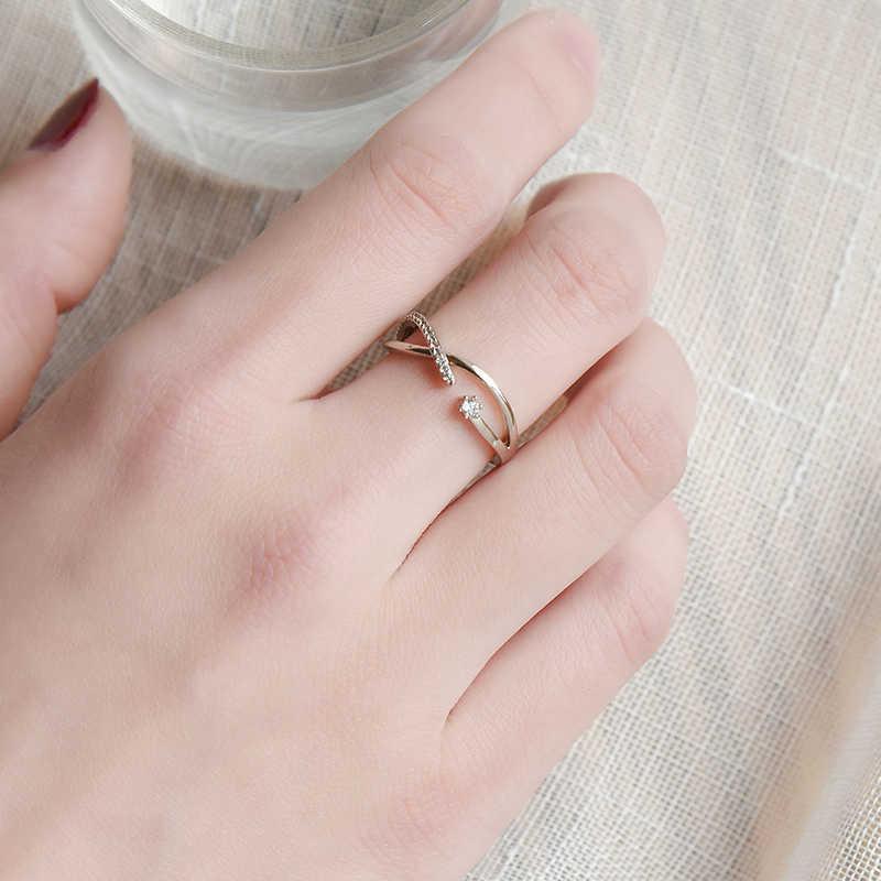 Wuli & baby กาแฟทอง Rhinestone แหวนผู้หญิงหมั้นแหวนเปิดปรับ