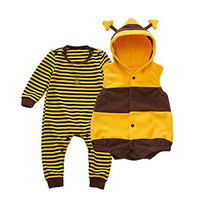 Winter Warm Fleece Baby Rompers With Vest Ladybug Bee Costumes 2pcs Toddler Tights Baby Cute Animal
