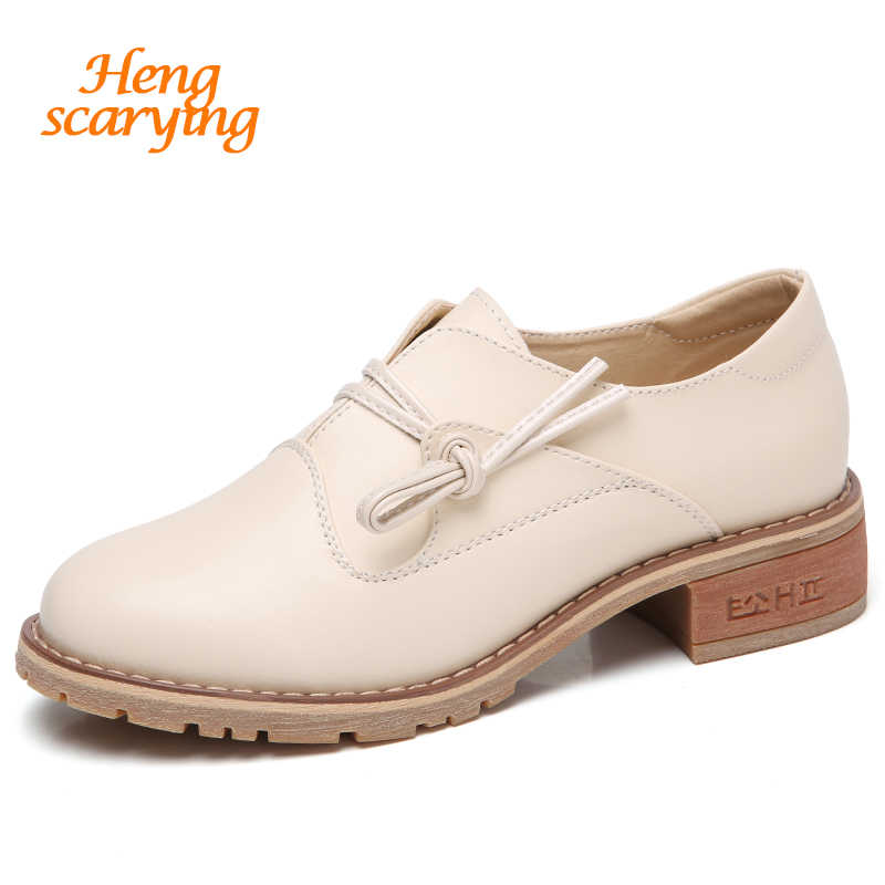 acfcaec95a754 HENSCARYING Brand 2018 Fashion Women Oxford Shoes British Style Flat  Handmade Leather Flats Female Breathable Walking Flat Shoes