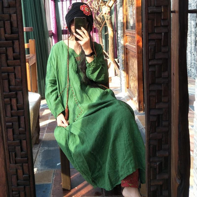 Johnature kobiety haft pościel 100% sukienka 2019 wiosna nowy wysokiej jakości Bat rękaw Plus Size kobiet ubrania w stylu Vintage szata sukienka w Suknie od Odzież damska na AliExpress - 11.11_Double 11Singles' Day 1