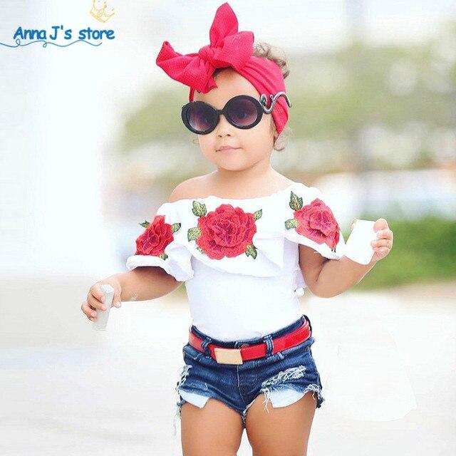 Nouvelles Filles De Mode Costume D'été Mot Épaule T-shirt et Sequin Denim Shorts 2 pcs/ensemble rose Chemise Enfants de Vêtements Ensemble TZ529