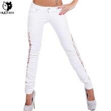 HUOX Sexy Lace Women Jeans White Black Long Pencil Denim Pants Femme Skinny Boyfriend Jeans Woman Plus Size for women Ripped