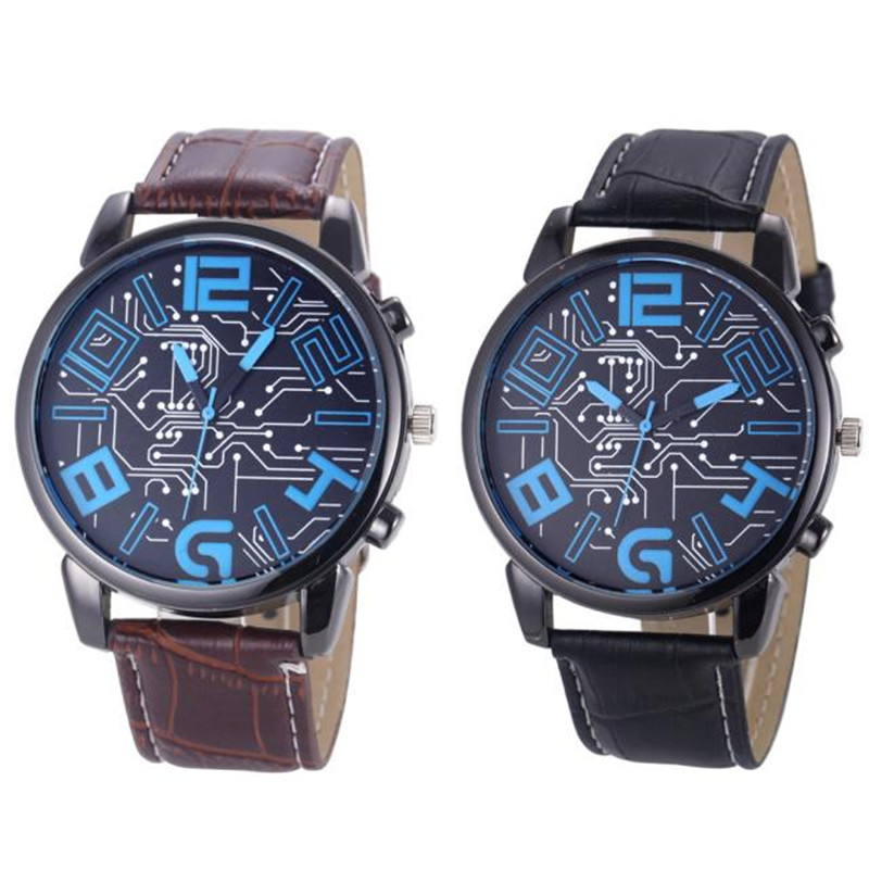 2016 mens watches top brand luxury leather analog