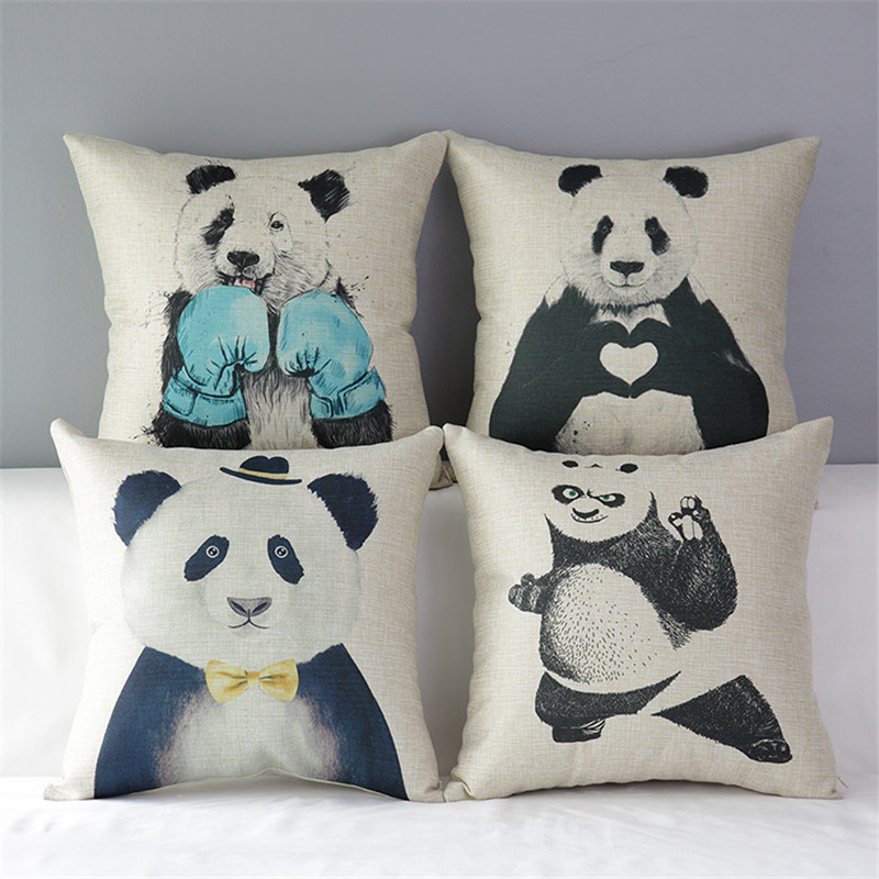 "18"" Square Cute Kung Fu Panda Cotton Linen Cushion Sofa"