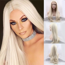 Hot selling Top Quality White Blonde Ombre natural straight style Synthetic Lace Front Wig Heat Resistant hair wig For Women