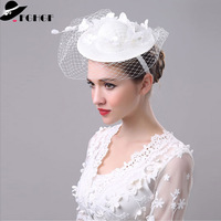 FGHGF White Facinator Hat for Women Mesh Netting Flower Sinamay Hat Base Church Party Headwear Lady Fancy Race Wedding Headpiece