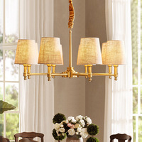 TUDA LED chandelier copper chandelier living room linen chandelier American E14 110V 220V