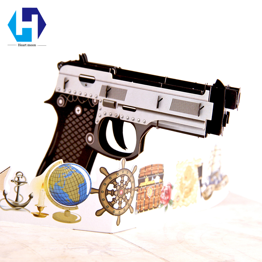 Colorful printing 3D pop up Gun Toy dies greeting card laser cutting envelope postcard hollow carved handmade kirigami gifts creative gifts 3d pop up card greeting