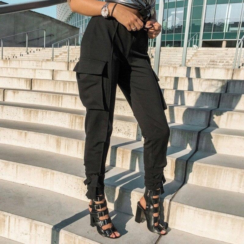 Pantalon Cargo noir femme taille haute Joggers femmes pantalon militaire Streetwear Harajuku pantalons de survêtement filles Hip Hop automne hiver
