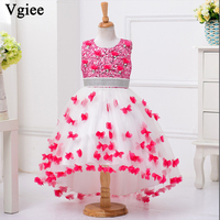 Vgiee Kids Dresses for Girls Christmas Princess Dresses O neck Knee Length Party Weddings Dress for Girls 10 To 12 Years