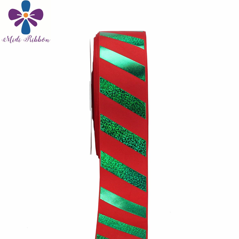 """3 """"75mm rayas verdes holograma lámina impresa cinta de grogrén rojo DIY decoración de fiesta de Navidad 50 yardas/rollo pelo Bowknots-in Cintas from Hogar y Mascotas    2"""