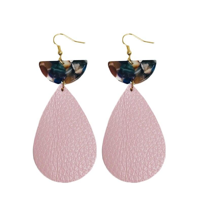 Cpop New Water Drop Genuine Leather Earrings Half Month Pendant Acrylic Earrings Fashion Jewelry Women Accessories Gift Hot Sale in Drop Earrings from Jewelry Accessories