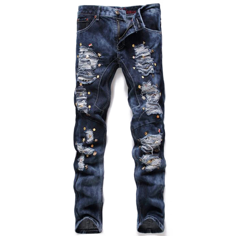 Balmain jeans Fashion Mens Ripped Denim Joggers Rivet Brand Designer Torn Distressed Jeans  Pants Man Washed Slim Fit Destroyed Jean Trousers-in Jeans from Men's  Clothing ...