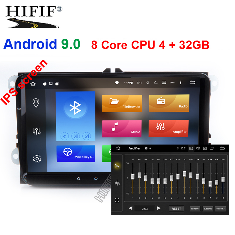 IPS DSP Android 9.0 lettore multimediale per VW PASSAT B6 B7 V7 Golf 5 6 BORA Tiguan Fabia Rapid Seggiolino leon Altea Toledo no DVD