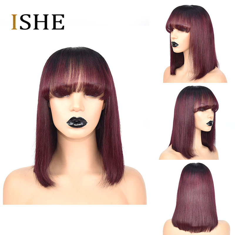 Image 2 - Ombre Red 99J Bob Wigs With Bangs 13x6 Lace Front Human Hair Wigs Indian Remy Hair Straight Full For Women With Bang Black Hair-in Lace Front Wigs from Hair Extensions & Wigs
