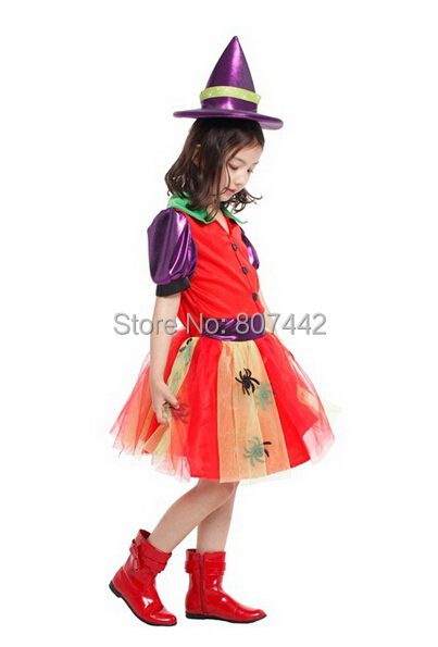 Halloween Party Dress Stage Performance Costume Lovely Spider Witch with Witchcap Nifty Terror Sorceress