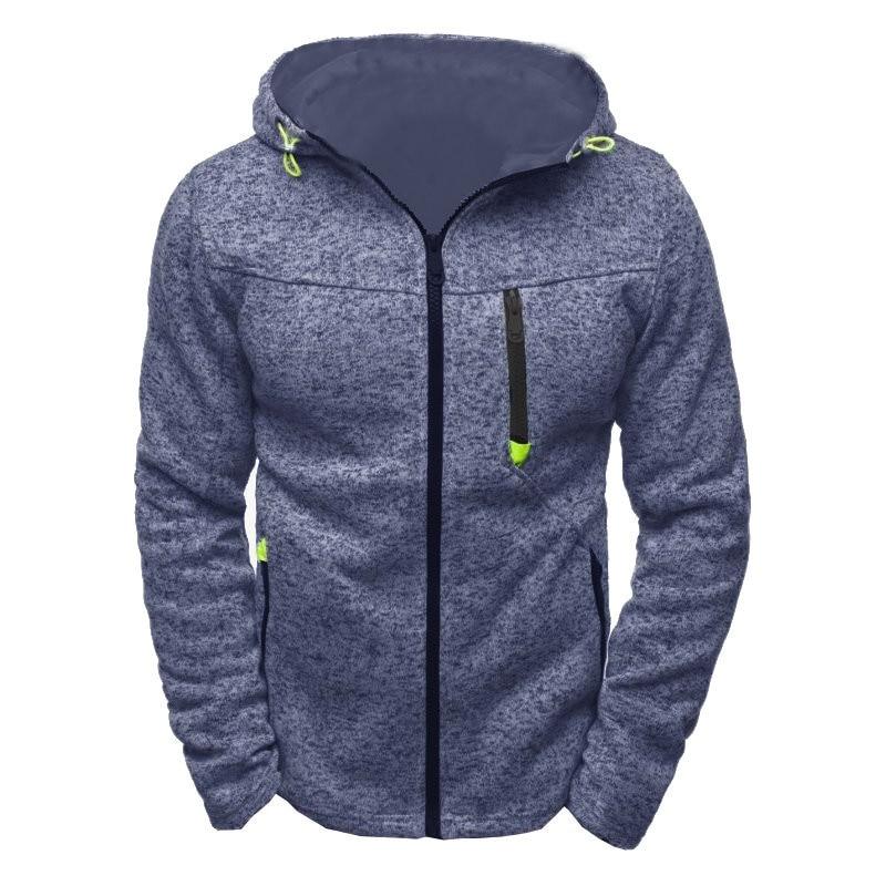 Men Sports Casual Wear Zipper Fashion Tide Jacquard Hoodies Fleece Jacket Fall Sweatshirts Autumn Winter Coat 2