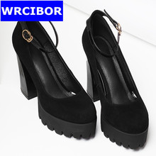 2017 suede leather woman dress shoes fashion women pumps thick heels round toe ankle strap high heels sandals Wedding shoes