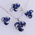 925 Stamped Sterling - Silver Plated Blue Imitation Sapphire Jewelry Sets for Womens SH0095