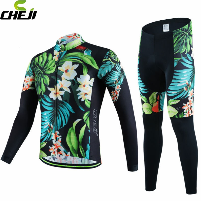 2017 CHEJI Team Mens Winter Fleece Windproof Cycling Jersey Ropa Ciclismo  Thermal Bike Bicycle Long Sleeve Clothing Set Suit  cheji team mens bike clothing set ropa ciclismo mtb bike bicycle cycling long sleeve jersey