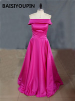 Arabic Style Evening Dresses 2016 Charming Sexy Off The Shoulder Boat Neck Hot Pink Prom Paty