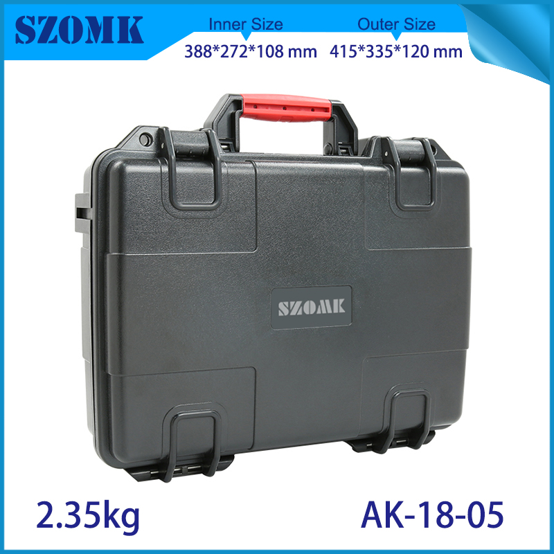 waterproof plastic hard tool carrying case pp and abs weatherproof equipment tool case with Sponge inside 415x335x120mm szomk