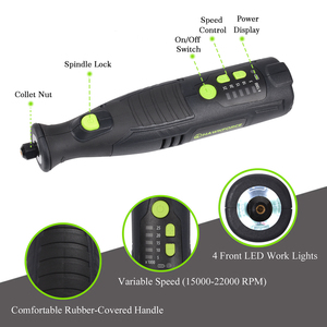 Image 4 - 8V Li ion Cordless Rotary Tool 5 Speed 4 LED Lights HAWKFORCE Rechargeable Electric Mini Drill Engraving Grinder Power Tools
