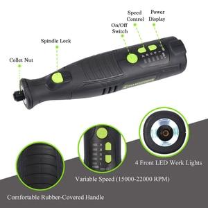 Image 4 - Herramienta rotativa inalámbrica de iones de litio, 8V, 5 velocidades, 4 luces LED, HAWKFORCE, recargable, Mini taladro eléctrico, lijadora de grabado, herramientas eléctricas