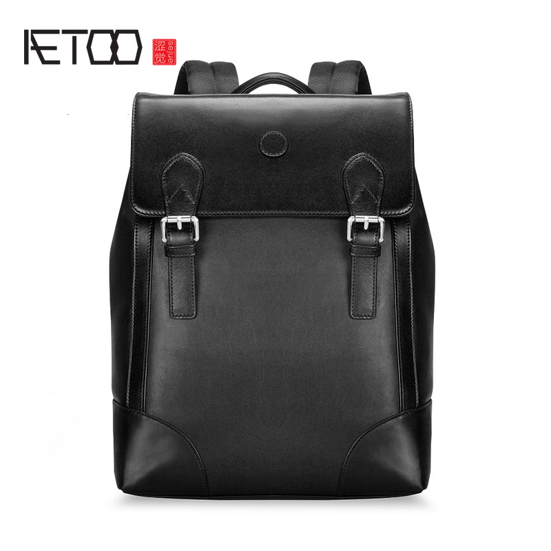 AETOO Backpack head layer of cowhide leather shoulder bag  of the wave male shoulder brigade computer backpack aetoo shoulder bag male leather backpack student bag fashion business computer bag head layer cowhide men and women backpack