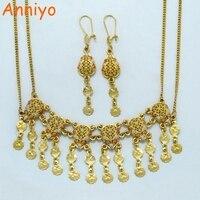 Anniyo Nahen Osten Halskette & Ohrringe sets Mix Gold Farbe Arabischen Schmuck sets Mama muttertag Geschenke Oman/Israel/ägypten #011512