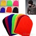 Hombres de las mujeres Nuevo Invierno de Color Sólido Llanura Beanie Knit Ski Cap Sombrero Del Cráneo Cuff Warm Blanco Beany