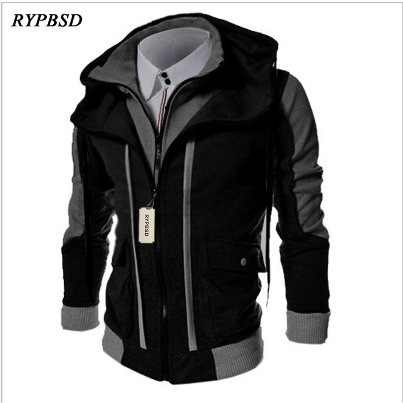 New Spring Autumn Hooded Assassin Creed Hoodie Sweatshirt Double Zipper Fake Two Pieces Patchwork Cardigan Hoodie Men Jacket 3XL ...