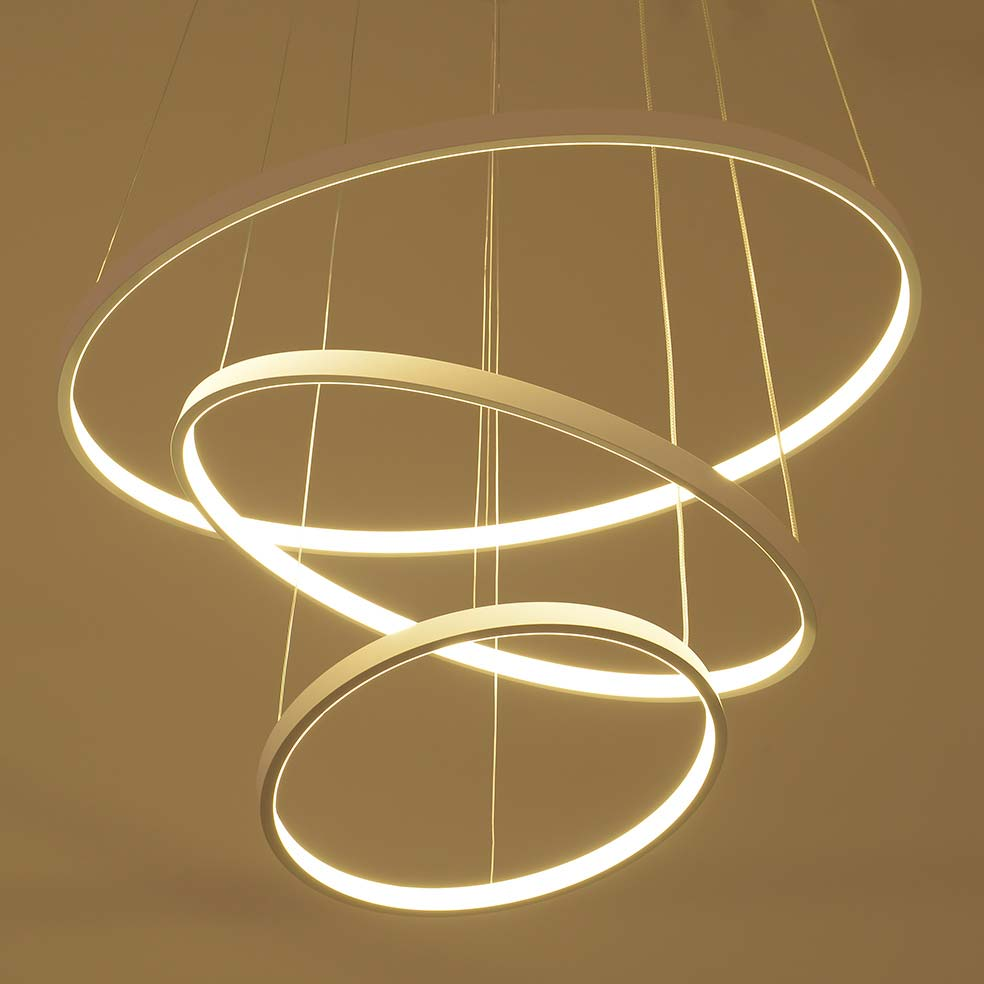 Modern LED Pendant Light Living Room Decor Acrylic Dimmable 3 Circles Hanging Lamp with Butterfly Lamparas Lustre BLP6169