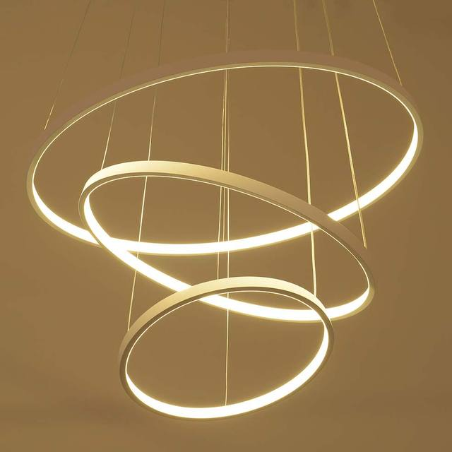 Buy modern led pendant light living room decor acrylic dimmable 3 circles - Lampe cercle led ...