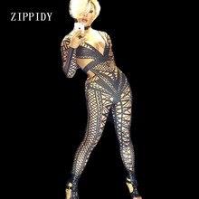 Сексуальный белый черный телесный комбинезон костюм цельный ночной клуб Одежда для танцев узор наряд вечерние для певицы для сцены одежда для сцены