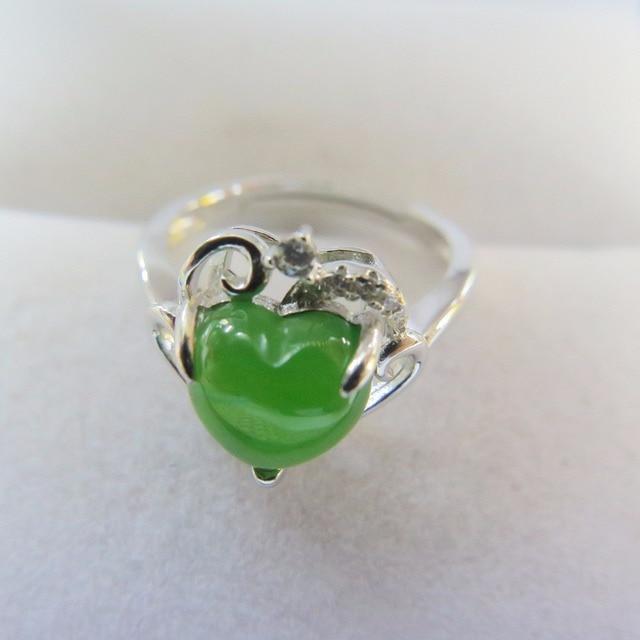 925 silver natural Hetian jade ring jasper gemstone YiXl6