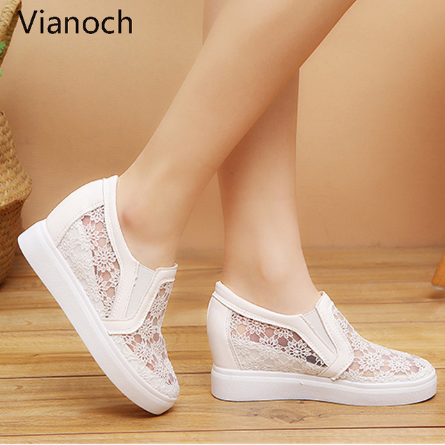 2019 New Fashion Womens Shoes Casual Wedges Mesh Shoe Slip On Lady aa0773 1