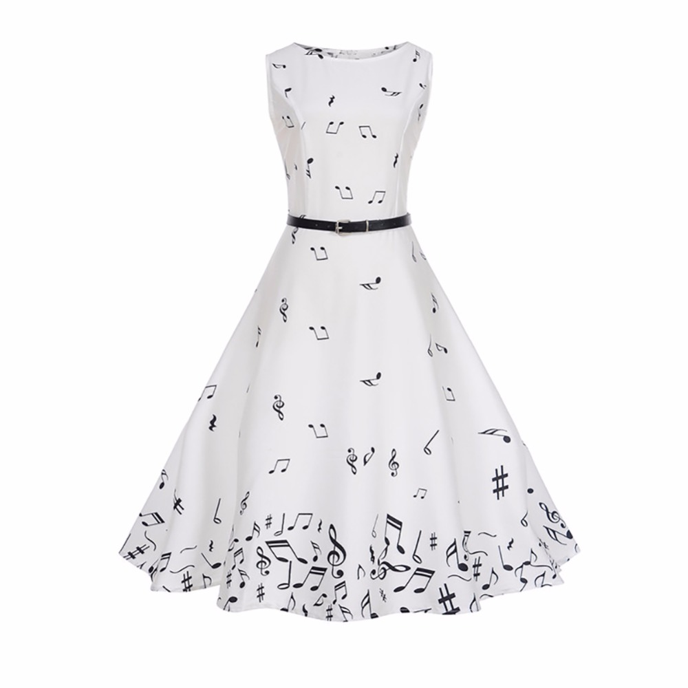 Women Musical Note Print Dress Sleeveless White Casual Music Digital Printing Slim Waist Big Swing Dresses with Belt Oct18