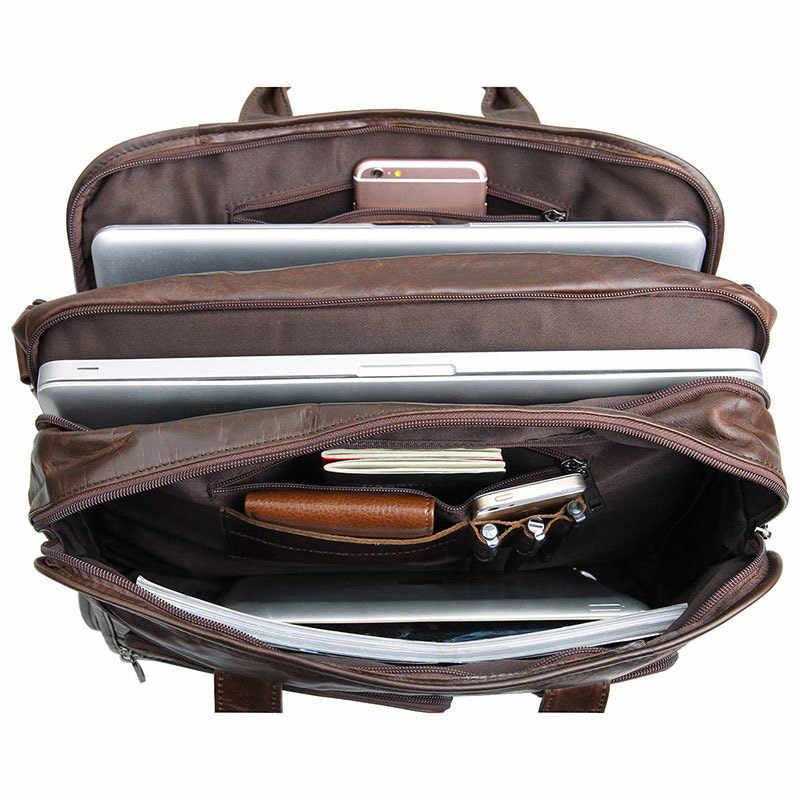كبيرة الأعمال السفر حقيبة القهوة جلد البقر الرجال حقائب الذكور A4 الجلود حقيبة كتف الرجال حقيبة لابتوب حقيبة جلدية الذكور