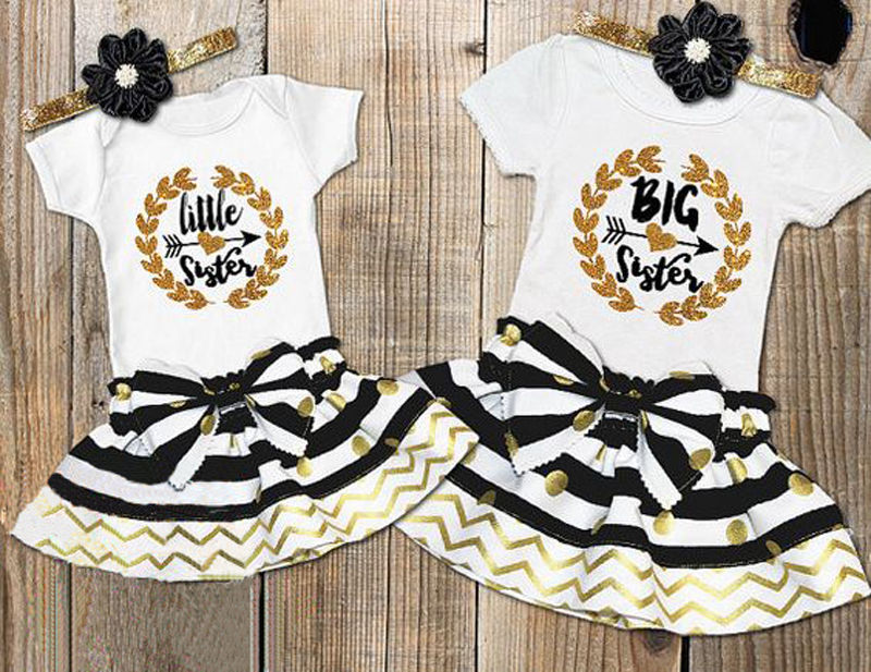 8a160e4330fa1 2017 New 2psc Infant Baby Girl Little Big Sister Matching Clothes Bodysuit  T shirt Dress Outfits Sets-in Matching Family Outfits from Mother & Kids on  ...