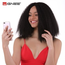 Wignee Afro Kinky Curly Lace Front Synthetic Wigs For Women High Temperature Short Hair Bouncy Fake Female Wig