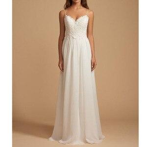 Image 2 - LORIE Boho Wedding Dress Spaghetti Strap A Line Chiffon Long Backless Beach Wedding Gown Appliques Lace Top Bride Dress 2019