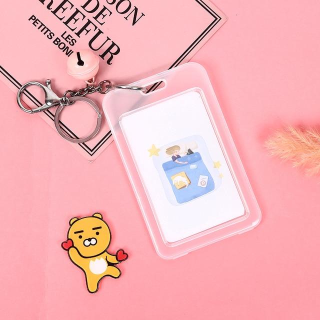 creative key chain bell card holder girls student id bus