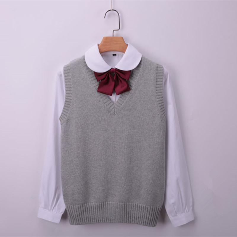 100% Cotton Large Size Women's Vest Winter School Girls Vests V-Neck Knitted Female Spring Coat Knit Waistcoat For Women Sweater