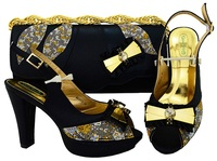 New Black Color Italian Shoes With Matching Bags African High Heel Women Shoes And Bags Set