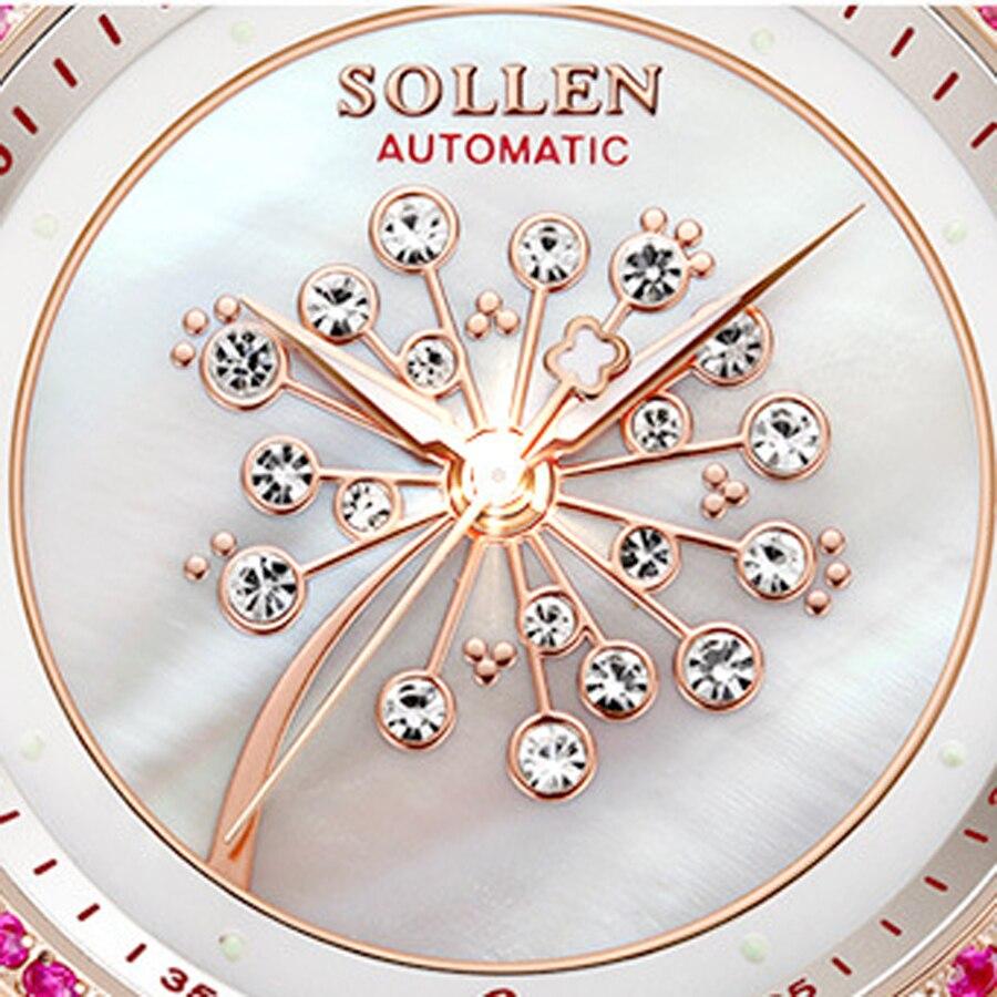 SOLLEN Moda Mulheres Relógios de Cristal de Safira À Prova D' Água Relógio Das Mulheres Senhoras Pulseira de Couro Relógio de Quartzo Top Marca de Luxo Rosa - 4