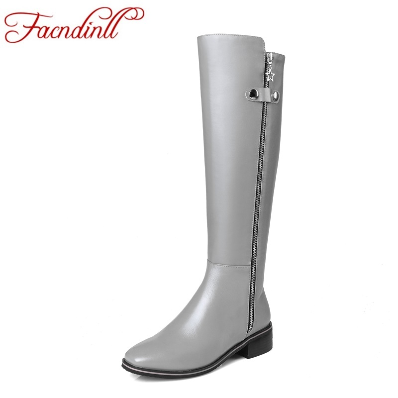 FACNDINLL 2017 new autumn winter women knee high boots med heel square to black zipper shoes woman riding boots warm long boots